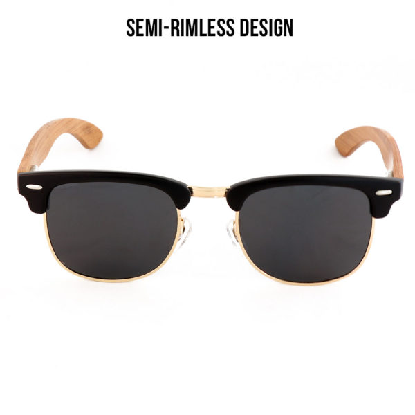 7e40a0019bf ... Mufasa Black Lens Bamboo Semi Rimless Sunglasses The Loyal Lion